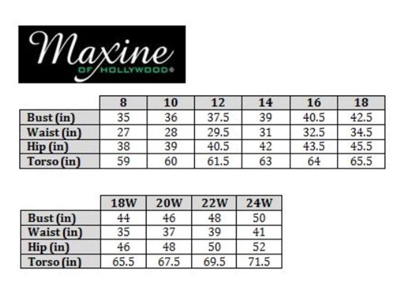 Maxine Size Chart