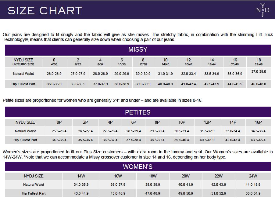 NYDJ Size Chart